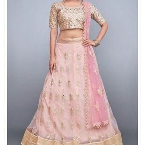 Lehenga Gold, Coral and Green
